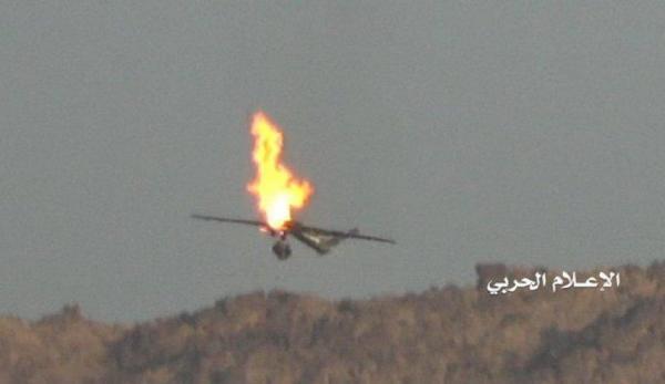 انهدام پهپاد شناسایی عربستان توسط پدافند هوایی یمن